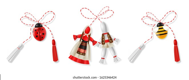Hello spring, 1 march, realistic martisor red and white big set with bee, ladybug and national costume isolated, spring symbol realistic vector illustration