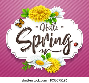 Hello Spring background with flower, ladybug, and butterfly on striped purple background