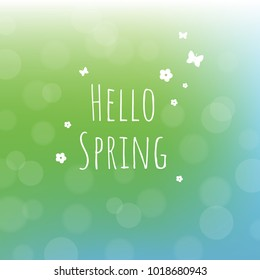 Hello Spring Background With Gradient Mesh, Vector Illustration