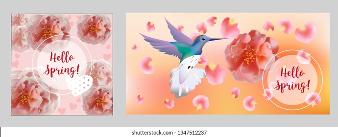 Hello spring banner. Greeting to spring vector card, hello text. Elegant cards with pink roses