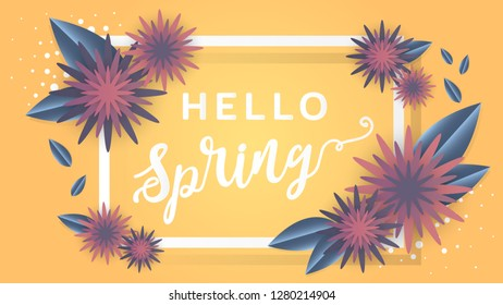Hello spring, Blossom background, Flower vector
