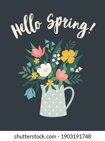 Hello Spring. Bouquet of flowers. Tulips buds, narcissus, lilac bunch with vases, jugs and glass bottles with water. Spring flowers, plants for decoration, blooming herbs isolated on background.