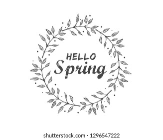 Hello spring. Card with decorative floral frame