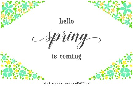 hello spring card flower colorful card design