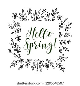 Hello Spring card, lettering text. Summer pattern. Vector floral set. Graphic collection with leaves and flowers.