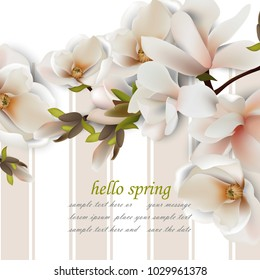 Hello spring card with magnolia flowers. Vintage Vector realistic backgrounds