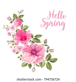 Hello spring card with purple roses. Spring flowers bouquet of color bud garland. Label with rose flowers. Vector illustration.