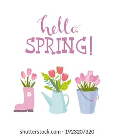 Hello spring card with tulips in rubber boot, bucket, watering can