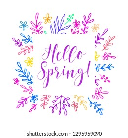 Hello Spring card. Vector illustration.