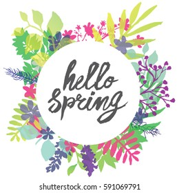 "Hello Spring circle frame Spring greeting card with text"" hello Spring"" in the middle of a square composition into circular background. Around which are located radially outward many flowers"