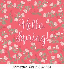 Hello Spring! - Colorful Flower Background- vector illustration eps10