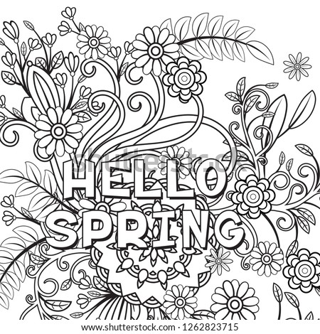 coloring pages 3213038751 | Hello Spring Coloring Page Beautiful Flowers Stock Vector ...