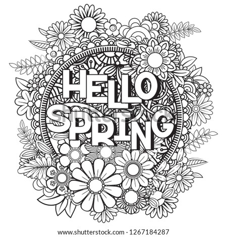 hello spring coloring page beautiful flowers stock vector royalty free 1267184287  shutterstock