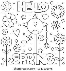 Hello spring. Coloring page. Vector illustration. Bird, flowers.