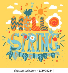 Hello Spring Concept With Flowers, Bird and Sun. Vector