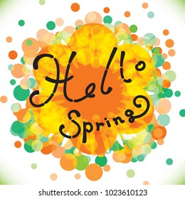 Hello Spring Concept. Welcoming the Springtime Vector Illustration