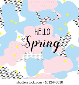 Hello spring. Creative geometric background with floral elements and different textures. Collage. Vector illustration