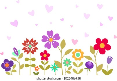 Hello Spring Floral Background. Pretty flowers, leaves and plants in bright colors. Hearts. Summer card