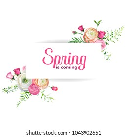 Hello Spring Floral Card for Holidays Decoration. Wedding Invitation, Greeting Template with Blooming Pink Flowers. Vector illustration