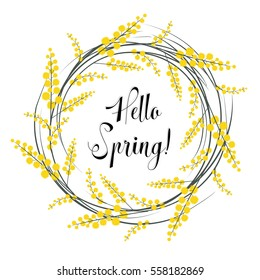 Hello Spring! Floral wreath of mimosa.