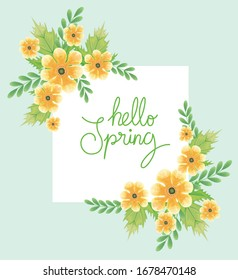 hello spring with flowers and leafs decoration vector illustration design