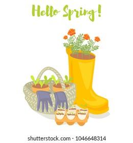 Hello spring gardening banner. Rubber boot, basket, gloves, seedlings and marigold flowers. Cartoon vector illustration.