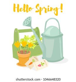 Hello spring gardening banner. Watering can, box with herbs, pot with crocuses, seeds. Cartoon vector illustration