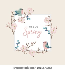 Hello spring greeting card, invitation with cute hand drawn birds and cherry tree branches with pink blossoms. Easter concept. Vector illustration background.