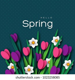 Hello Spring greeting card with paper cut tulip flower and narcissus. Vector illustration.