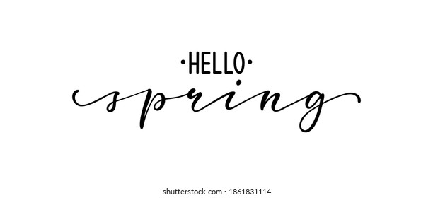 Hello spring. Hand drawn calligraphy and brush pen lettering. design for holiday greeting card and invitation of seasonal spring holidays, t-shirt, prints, posters and other types of holiday design