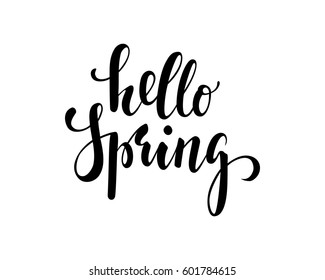 Hello Spring. Hand drawn calligraphy and brush pen lettering. design for holiday greeting card and invitation of seasonal spring holiday.