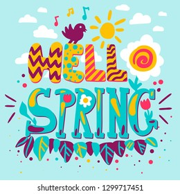 Hello spring hand drawn poster template. Flat design quote. Greeting card, banner cartoon idea
