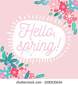 Hello Spring. Hand drawn spring vector illustration. Flowers and plants