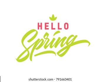 Hello Spring hand lettered logotype, badge typography icon. Lettering spring season for greeting card, invitation banner. Brushpen calligraphy with hand made font.