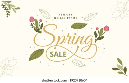 Hello Spring hand logotype, badge typography icon. Lettering spring season with leaf for greeting card, invitation template. Retro, vintage lettering banner poster template background, Sale, offer