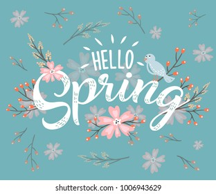 Hello Spring hand sketched logotype, badge typography icon. Lettering spring season with leaf for greeting card, invitation template. Retro, vintage lettering banner poster template background