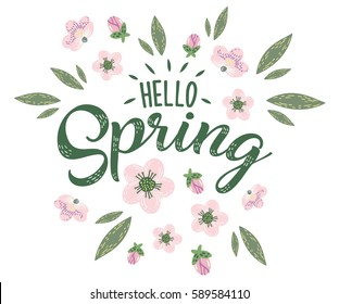 Hello Spring hand sketched logotype, badge typography icon. Lettering spring season with flowers for greeting card, invitation template. Retro, vintage lettering banner poster template background
