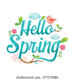 Hello Spring Letter Decorating With Animal, Leaf And Flower, Season, Lettering, Nature