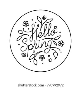 Hello spring logo in flat style with flowers, leaves and geometric shapes. Circle nature icon. Black and white graphic floral design element in minimal modern style. Vector illustration.