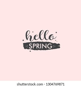 Hello spring logo with hand drawn text and star shapes around. Vintage style retro typo for spring.