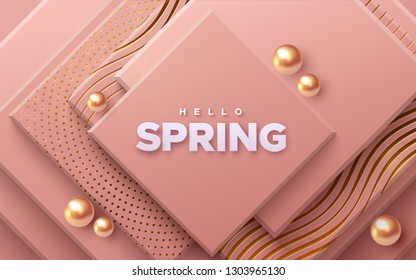 Hello spring. Modern cover design. Vector seasonal illustration. Abstract background with coral geometric planes textured with golden patterns and spheres. Architectural composition with square shapes