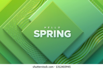 Hello spring. Modern cover design. Vector seasonal illustration. Abstract background with green geometric planes textured with golden patterns. Architectural composition with square shapes