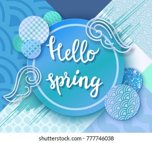 Hello spring paper art poster with japan wave pattern, lettering,modern banner or background in trendy oriental geometric style, chinese eastern ornament, trendy vector fashion invitation, gift card