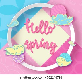 Hello spring pop art poster with japan wave pattern, lettering,modern banner or background in trendy paper cut geometric style, chinese eastern ornament, trendy vector fashion invitation, gift card