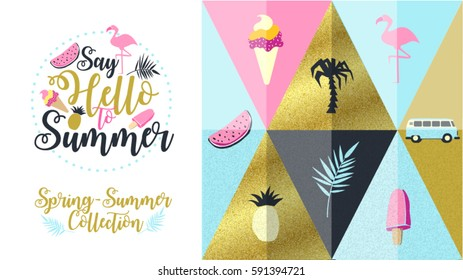 Hello Spring poster, banner in trendy 80s-90s Memphis style. Copper metal and rose gold vector illustration, lettering and colorful design for poster, card, invitation. Easy editable for Your design.
