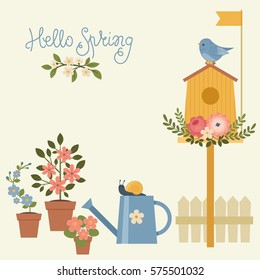 Hello Spring poster/greeting card. Birdhouse with bird, flowers, watering can. Vector illustration with hand lettering