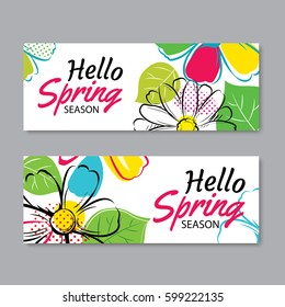 Hello spring sale banner template with colorful flower.Can be use voucher, wallpaper,flyers, invitation, posters, brochure, coupon discount.