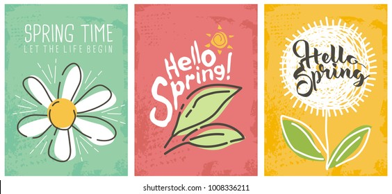 Hello spring seasonal banners collection. Artistic drawing posters set with flowers and plants. Floral decorated line art banners selection.