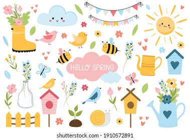Hello Spring set with lettering, birds, bees, flowers, birdhouses, sun, and other. Hand drawn, cartoon style vector illustration isolated on white. For kids cards,web, poster, invitation, sticker kit.