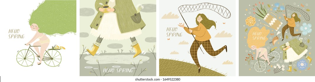 Hello spring! Set of vector posters with girl on bicycle, girl in coat and boots running through a puddles, catches with a butterfly net and isolated objects. Drawings for a card, poster or postcard